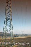 Power lines. Above fields in the spring Stock Image
