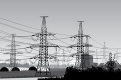 Power  lines. Vector illustration of electricity pylons.  morning urban landscape Stock Photography