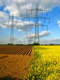 Power lines. About fields in Germany Stock Image