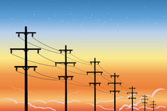 Power lines. High voltage power lines in dusk Stock Photo