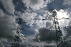 Power lines. On a storm sky Royalty Free Stock Images