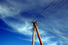 Power lines 2. Power lines on sky background Royalty Free Stock Photos