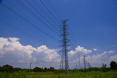 Power Lines. Electric power lines,on background blue sky stock photo