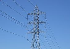 Power Lines. High voltage power lines.  Photo taken February 2014 Stock Photo