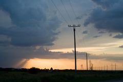 Power lines. At the beautiful background of the sky Royalty Free Stock Photography