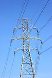Power Lines. Against a blue sky Royalty Free Stock Photos