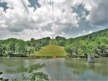 Free Power Lines Across New River In Virginia Stock Photo - 112609570