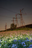 Power lines against the background of a beautiful sunset Royalty Free Stock Photography
