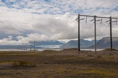 Power lines in Icelandic landscape Royalty Free Stock Images