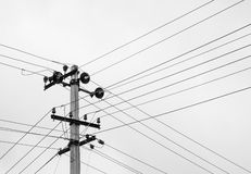 Power lines in black and white Stock Photo