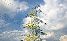 Power lines on a blue sky. Stock Photography