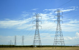 Power lines in California. Royalty Free Stock Photo