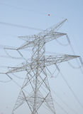 Power lines on clear sky Stock Image