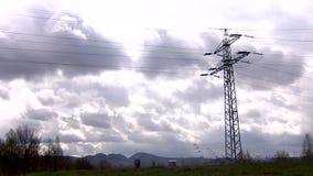 Power lines, clouds, storm, sun, power line pole, force, voltage, volt, spring