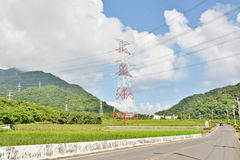 Power lines in countryside Stock Photography