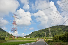 Power lines in countryside Royalty Free Stock Images