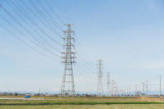 Power lines in countryside Royalty Free Stock Photo