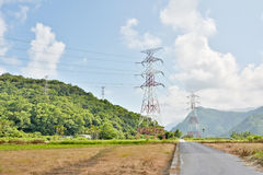 Power lines in countryside Royalty Free Stock Photos