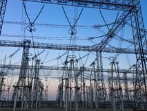 Power lines. Power distribution. Power lines. Distribution of electricity. Electricity power stock photography