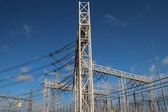 Power lines at distribution plant at Den Haag Wateringse Veld in the Netherlands.  royalty free stock image