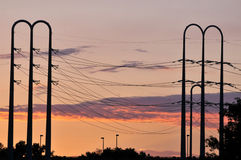 Power lines at dusk Stock Photos