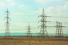 Power lines in Egypt. Electricity power lines in Egypt Stock Images