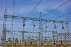 Power Lines of Electric Power Station. Many Power Lines of Electric Power Station at blue sky royalty free stock photography