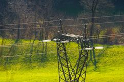 Power lines and electric pylon Royalty Free Stock Images