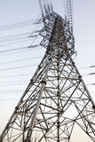 Power lines and electric pylons Stock Image