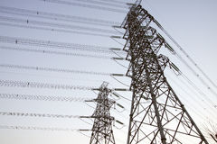 Power lines and electric pylons Royalty Free Stock Images