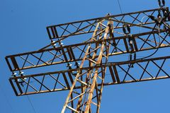 Power lines and electric pylons. Power lines and old electric pylons Royalty Free Stock Photos