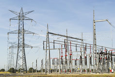 Power lines of electrical station Stock Photos