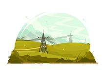 Power lines electricity Royalty Free Stock Photo