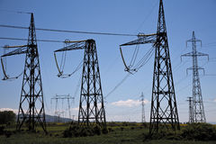 Power lines electricity Royalty Free Stock Photos