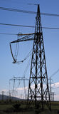 Power lines electricity Royalty Free Stock Image