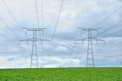 Power lines in a field in Bois Guilbert Royalty Free Stock Image
