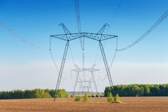 Power lines in the field. Electrosupply. Summer Stock Image