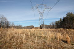 Power Lines in a Field Stock Photos