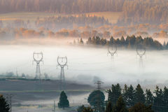 Power lines in the fog Stock Image