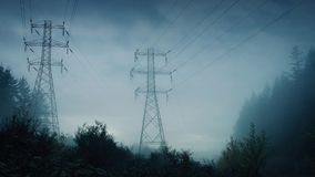 Power Lines In Forest In A Storm stock footage