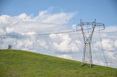 Power lines on a green hill with lone tree under cloudy blue sky. In spring Stock Photo