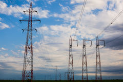 Power lines grid Stock Images