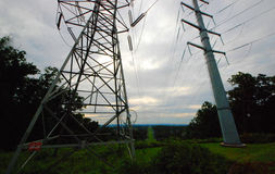 Power Lines, high voltage.  Transmission towers.  Jersey NJ Stock Image