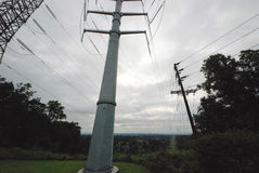 Power Lines, high voltage.  Transmission towers. Jersey  NJ Royalty Free Stock Image