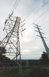 Power Lines, high voltage.  Transmission towers. Jersey NJ Stock Photo