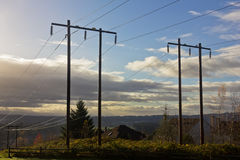 Power Lines on a Hill Stock Photos