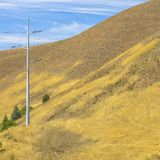 Power lines on a hill in Salt Lake City Utah stock image
