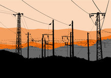 Vector illustration of Power lines, towers and pylons black silhouettes. Vector illustration of high voltage power lines, electricity towers and pylons black Royalty Free Stock Photography
