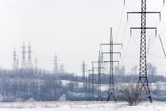 Power Lines In The Winter Stock Images