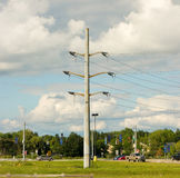 Power lines at an intersection in america Royalty Free Stock Images